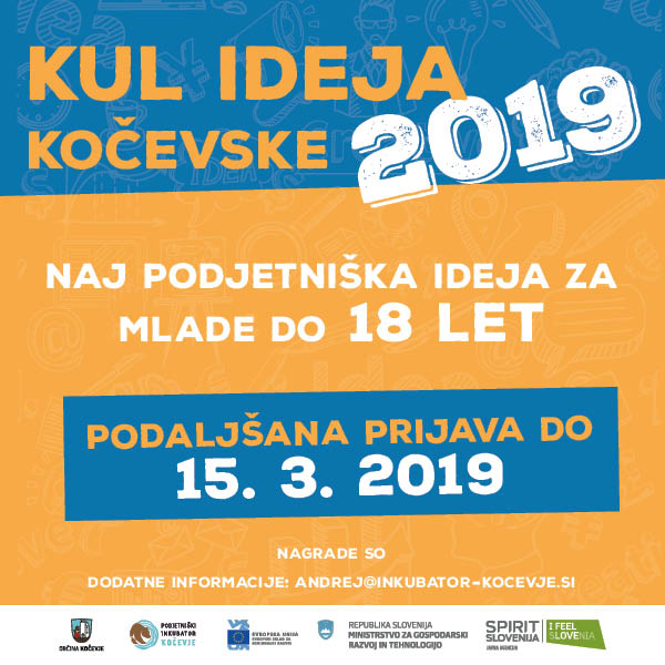 Kul ideja Kočevske 2019 za mlade do 18 let (prijave do 15.3.2019)